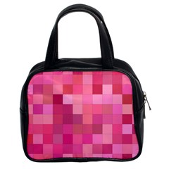 Pink Square Background Color Mosaic Classic Handbags (2 Sides)