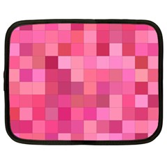 Pink Square Background Color Mosaic Netbook Case (xl)