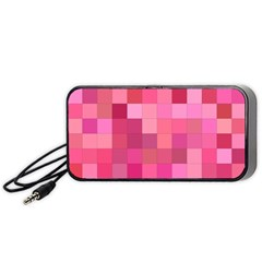 Pink Square Background Color Mosaic Portable Speaker
