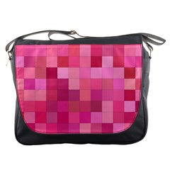 Pink Square Background Color Mosaic Messenger Bags by Celenk