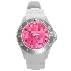 Pink Square Background Color Mosaic Round Plastic Sport Watch (l) by Celenk