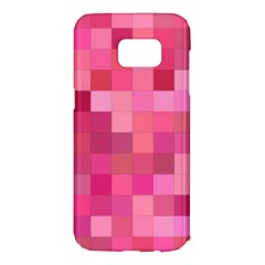 Pink Square Background Color Mosaic Samsung Galaxy S7 Edge Hardshell Case by Celenk