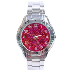 Pattern Background Square Modern Stainless Steel Analogue Watch by Celenk