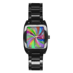 Spiral Background Design Swirl Stainless Steel Barrel Watch by Celenk