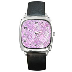 Pink Modern Background Square Square Metal Watch