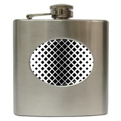Square Diagonal Pattern Monochrome Hip Flask (6 Oz)