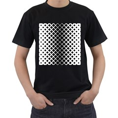 Square Diagonal Pattern Monochrome Men s T Shirt (black)