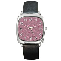 Purple Triangle Background Abstract Square Metal Watch