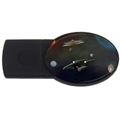 Space Travel Spaceship Space Usb Flash Drive Oval (4 Gb) by Celenk