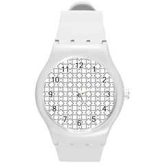 Square Line Stripe Pattern Round Plastic Sport Watch (m) by Celenk