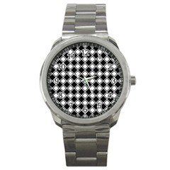 Square Diagonal Pattern Seamless Sport Metal Watch by Celenk