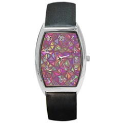 Triangle Background Abstract Barrel Style Metal Watch by Celenk