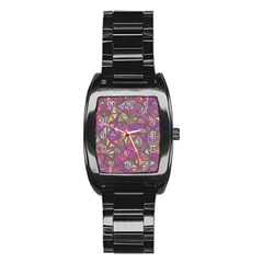 Triangle Background Abstract Stainless Steel Barrel Watch by Celenk
