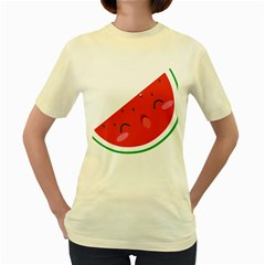 Watermelon Red Network Fruit Juicy Women s Yellow T Shirt