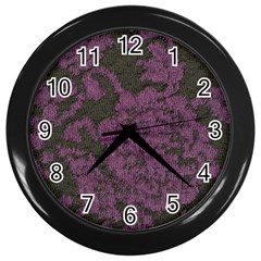 Purple Black Red Fabric Textile Wall Clocks (black)