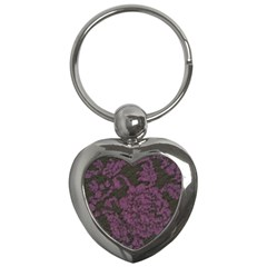 Purple Black Red Fabric Textile Key Chains (heart)