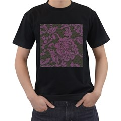 Purple Black Red Fabric Textile Men s T Shirt (black) (two Sided)
