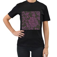 Purple Black Red Fabric Textile Women s T Shirt (black) (two Sided) by Celenk