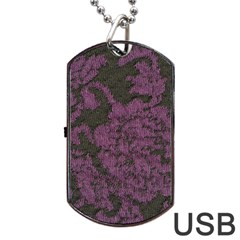 Purple Black Red Fabric Textile Dog Tag Usb Flash (one Side) by Celenk