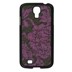 Purple Black Red Fabric Textile Samsung Galaxy S4 I9500/ I9505 Case (black) by Celenk