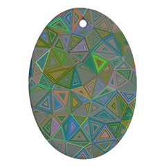 Triangle Background Abstract Oval Ornament (two Sides) by Celenk