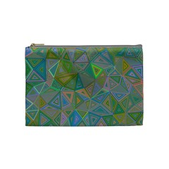 Triangle Background Abstract Cosmetic Bag (medium)  by Celenk