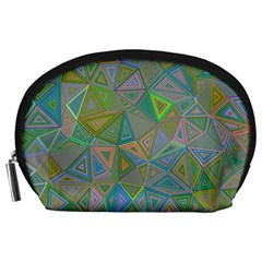 Triangle Background Abstract Accessory Pouches (large)  by Celenk