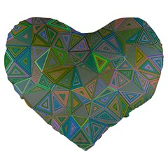 Triangle Background Abstract Large 19  Premium Flano Heart Shape Cushions by Celenk