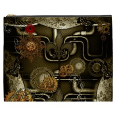Wonderful Noble Steampunk Design, Clocks And Gears And Butterflies Cosmetic Bag (xxxl)  by FantasyWorld7