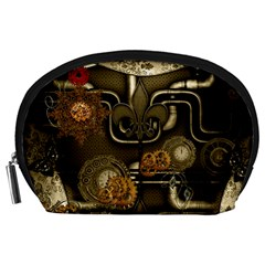 Wonderful Noble Steampunk Design, Clocks And Gears And Butterflies Accessory Pouches (large)  by FantasyWorld7