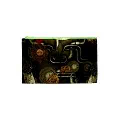 Wonderful Noble Steampunk Design, Clocks And Gears And Butterflies Cosmetic Bag (xs) by FantasyWorld7