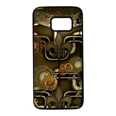 Wonderful Noble Steampunk Design, Clocks And Gears And Butterflies Samsung Galaxy S7 Black Seamless Case by FantasyWorld7