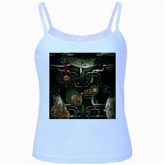 Wonderful Noble Steampunk Design, Clocks And Gears And Butterflies Baby Blue Spaghetti Tank by FantasyWorld7
