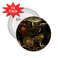 Wonderful Noble Steampunk Design, Clocks And Gears And Butterflies 2 25  Buttons (10 Pack)  by FantasyWorld7