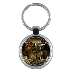 Wonderful Noble Steampunk Design, Clocks And Gears And Butterflies Key Chains (round)  by FantasyWorld7
