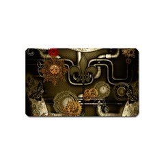 Wonderful Noble Steampunk Design, Clocks And Gears And Butterflies Magnet (name Card) by FantasyWorld7