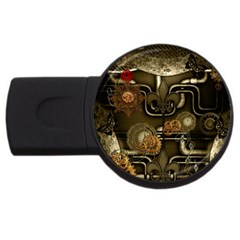 Wonderful Noble Steampunk Design, Clocks And Gears And Butterflies Usb Flash Drive Round (2 Gb) by FantasyWorld7