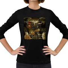 Wonderful Noble Steampunk Design, Clocks And Gears And Butterflies Women s Long Sleeve Dark T-shirts by FantasyWorld7