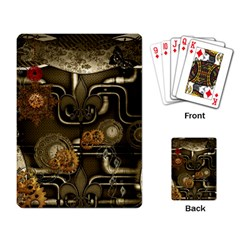 Wonderful Noble Steampunk Design, Clocks And Gears And Butterflies Playing Card by FantasyWorld7