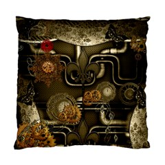 Wonderful Noble Steampunk Design, Clocks And Gears And Butterflies Standard Cushion Case (two Sides) by FantasyWorld7