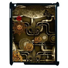Wonderful Noble Steampunk Design, Clocks And Gears And Butterflies Apple Ipad 2 Case (black) by FantasyWorld7