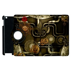 Wonderful Noble Steampunk Design, Clocks And Gears And Butterflies Apple Ipad 3/4 Flip 360 Case by FantasyWorld7
