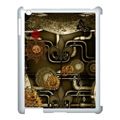 Wonderful Noble Steampunk Design, Clocks And Gears And Butterflies Apple Ipad 3/4 Case (white) by FantasyWorld7