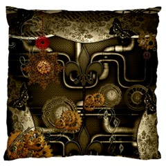 Wonderful Noble Steampunk Design, Clocks And Gears And Butterflies Large Flano Cushion Case (one Side) by FantasyWorld7