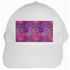 12 Geometric Hand Drawings Pattern White Cap by Cveti