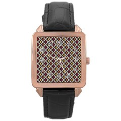 Native American Pattern 5 Rose Gold Leather Watch