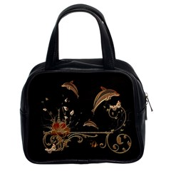 Wonderful Dolphins And Flowers, Golden Colors Classic Handbags (2 Sides) by FantasyWorld7