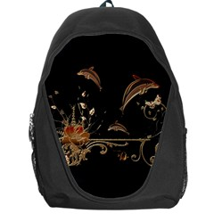 Wonderful Dolphins And Flowers, Golden Colors Backpack Bag by FantasyWorld7
