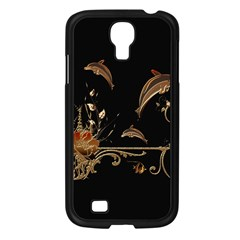 Wonderful Dolphins And Flowers, Golden Colors Samsung Galaxy S4 I9500/ I9505 Case (black) by FantasyWorld7