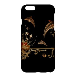 Wonderful Dolphins And Flowers, Golden Colors Apple Iphone 6 Plus/6s Plus Hardshell Case by FantasyWorld7